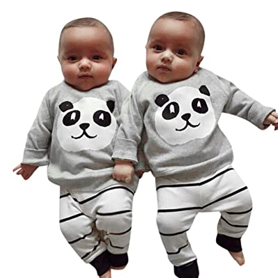 Amiley Newborn Baby Girls Boys Panda cute soft sweet Tops Shirt Stripe Pants 2PCS Outfits Set Clothes