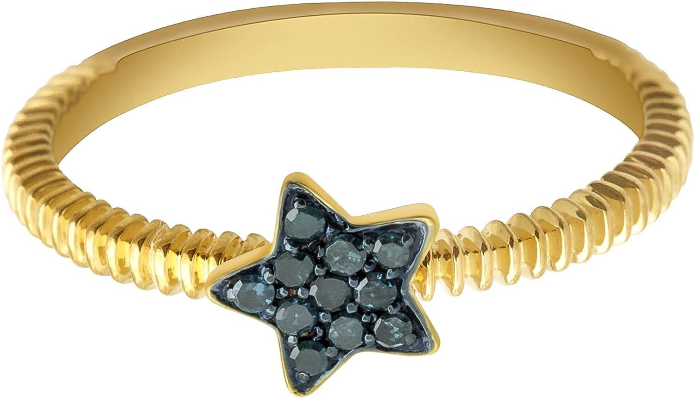 Prism Jewel 0.08 Carat Round Blue Color Diamond Star Shape Stylist Ring