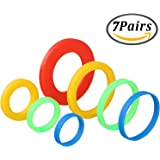 Keriber 7 Pairs Silicone Rolling Pin Rings Rolling Pin Spacer Bands Guide Rings, 14 Pieces