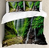Waterfall Decor Duvet Cover Set by Ambesonne, Waterfalls side Valley in Indonesia with Asian Bushes above the Hills, 3 Piece Bedding Set with Pillow Shams, King Size, Green and Brown