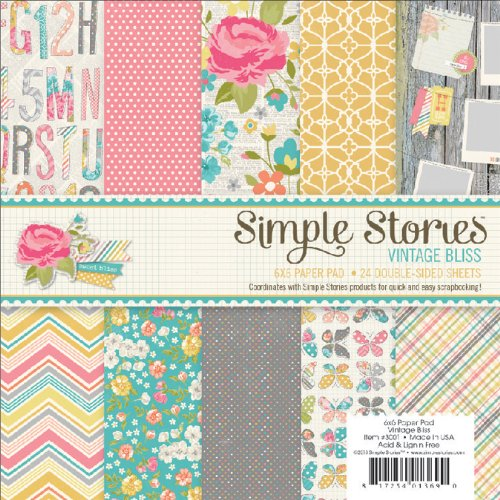 Simple Stories Paper Pad, 6 by 6-Inch, Vintage Bliss