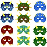 Dinosaur Masks for Kids Party, 12 Felt Toy Masks, Best Dino Birthday Parties Supplies Favors for Goodie Bags, Gifts, etc