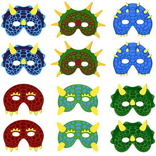 (Little Seahorse Dinosaur Masks for Kids Party, 12 Felt Masks, Best Dino Birthday Parties Supplies Favors for Kids Goodie)