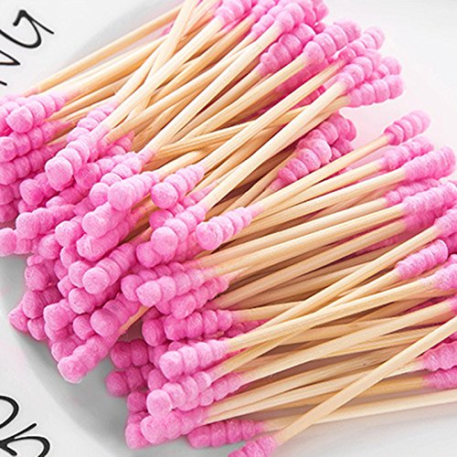 200Pcs Wooden Handle Cotton Double Head Swab for Ear Cleaning IWang