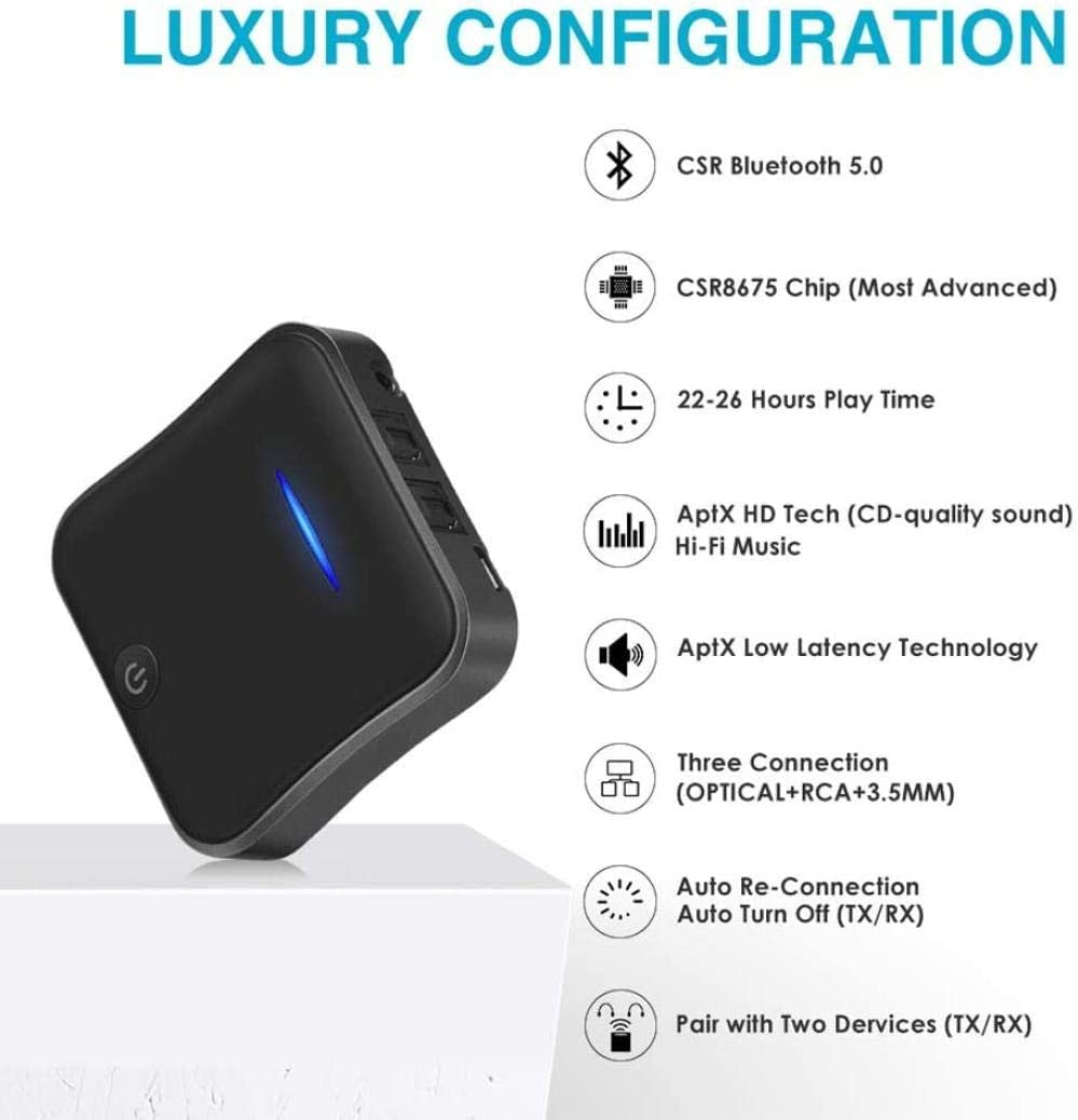 Cxjff Bluetooth 5 0 Zender Ontvanger Csr8675 Aptx Hd Ll Bt Audio Music Wireless Adapter 3 5 Mm 3 5 Aux Jack Spdif Rca For Tv Pc Car Upgrade Amazon Nl
