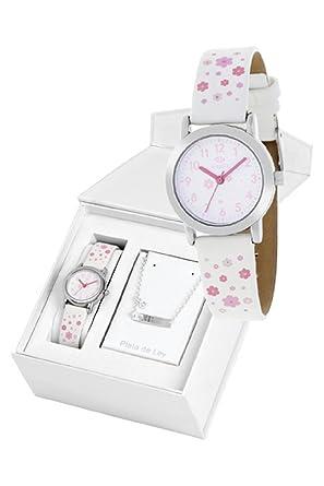 Conjunto reloj marea niña b35284/10 y nomeolvides plata de ley