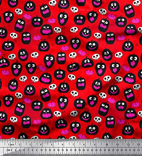 Soimoi Red Modal Satin Fabric Pumpkin,Skull & Monster Lips Halloween Decor Fabric Printed BTY 42 Inch Wide