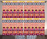 Aztec Curtains by Lunarable, Colorful Cultural Art Borders Vintage Figures Abstract Rich Motifs Mayan Mexican, Living Room Bedroom Window Drapes 2 Panel Set, 108 W X 84 L Inches, Multicolor
