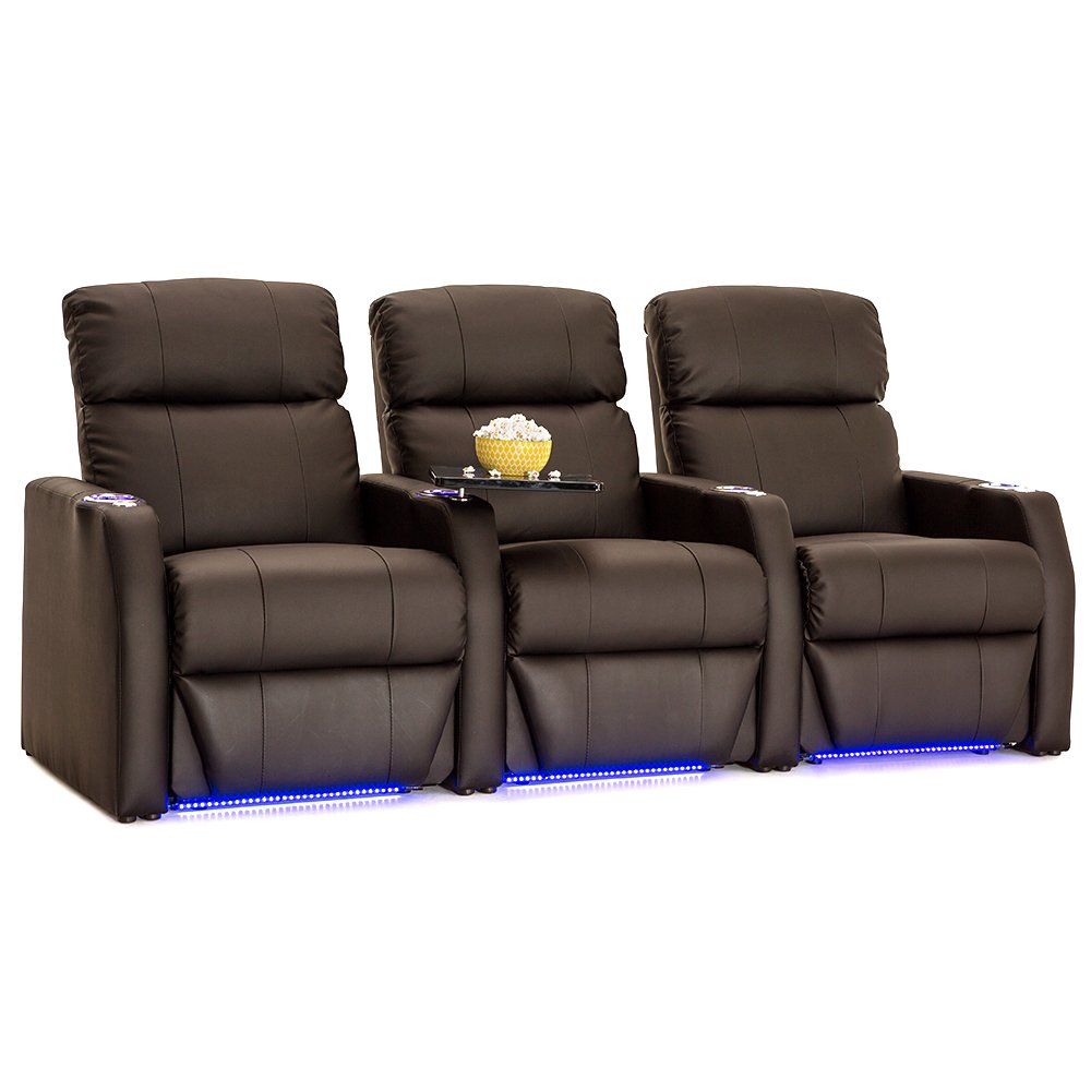 Seatcraft Sienna Brown Leather Home Theater Seating - Row of 3 Seats - Power Recline by Seatcraft