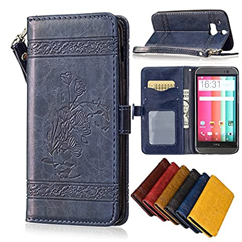 HTC One M8 Case, M8 case wallet, SinYong [Card Slot] [Stand Feature] Premium PU Leather Embossed Folio Flip Case with Strap for HTC One M8 - (M8 Cell Phone Case Wallet)