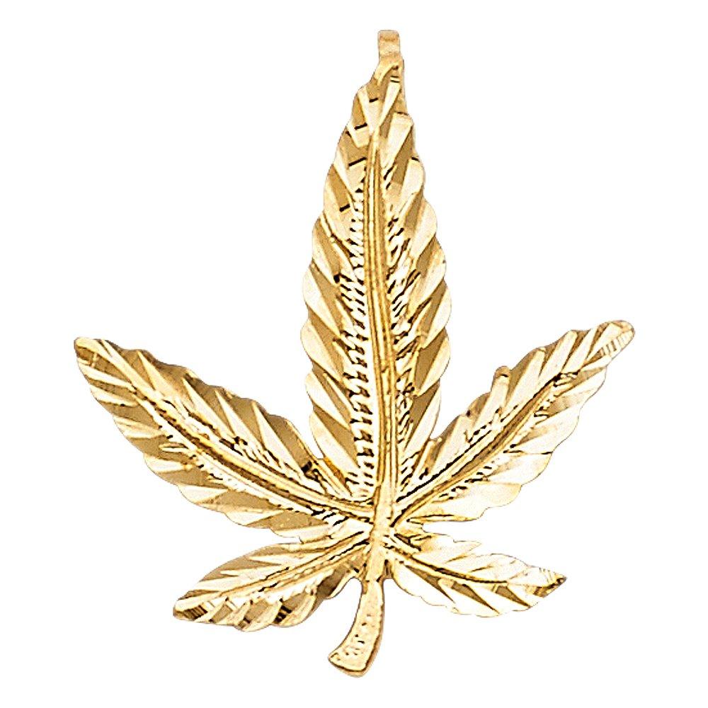 Paradise Jewelers 14K Solid Yellow Gold Marijuana Leaf Pendant