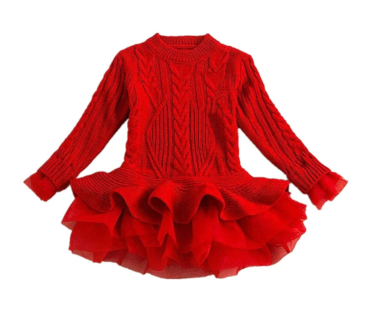 Caitefaso Girls Dresses Sweater Fall Clothes Tutu Tulle Long Sleeve Ruffle Chunky Cable Rib Jumpers 2-7 T