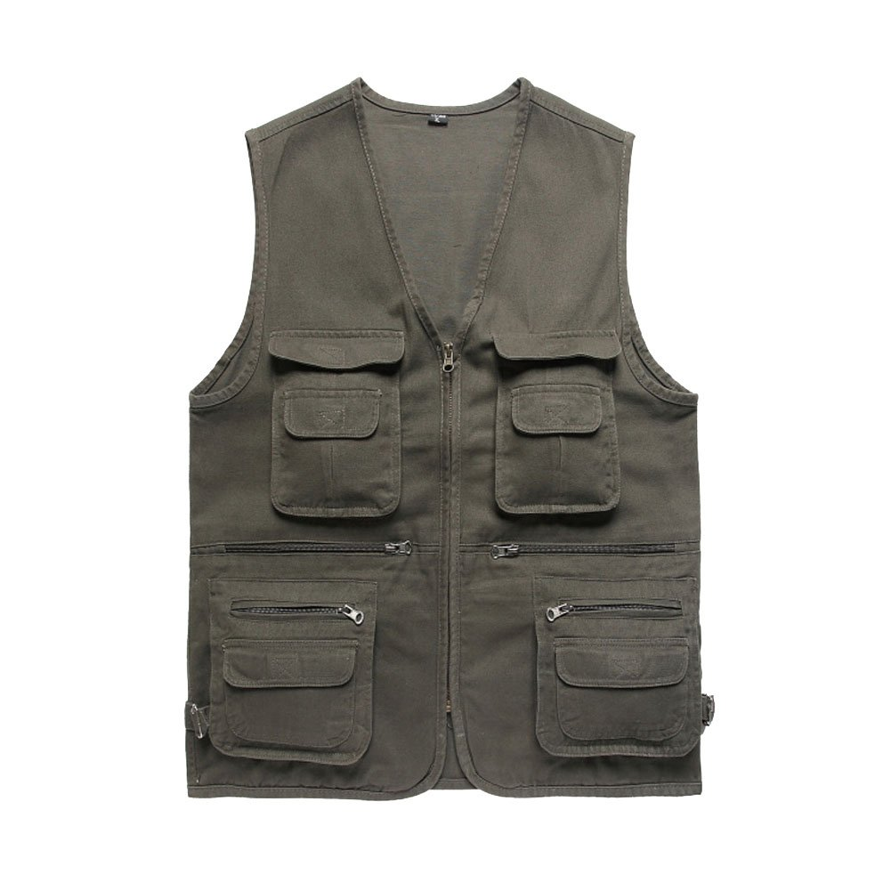 ZQXPP Men's Outdoor Multifunction Multi-pocket Pierced Fishing Vest Photo Journalist's Vest JCMC