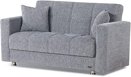 BEYAN Niagara Collection Contemporary Upholstered Convertible Storage Love Seat