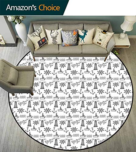 Lighthouse Round Rug Entry,Doodle Style Marine Elements Hand Drawn Nautical Pattern Waves Boats and Birds Suitable for Bedroom Home Decor,Black White,D-51 ()