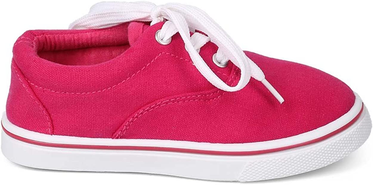 DG59 Toddler//Little Boy//Big Boy Canvas Round Toe Classic Lace Up Sneaker Size: Big Kid 4 Fuchsia