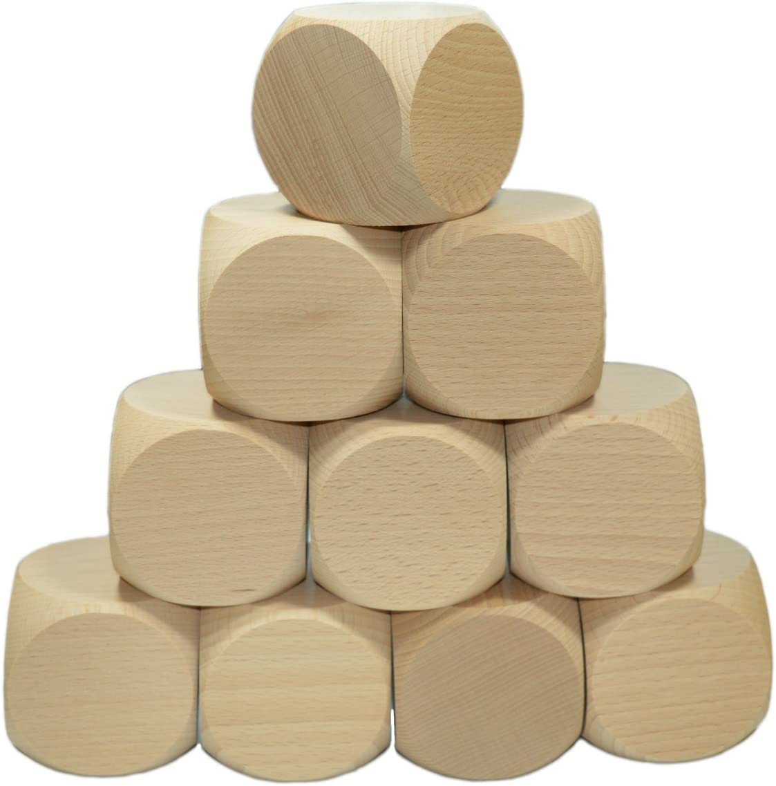 Gebetswürfel 3 x Gico Blankowürfel Holzwürfel natur mit 40 mm Kantenlänge t