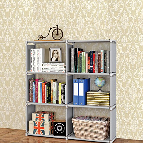 3-tier Storage Cube Closet Organizer Shelf, DIY 6-cube Bookcase Cabinet without Doors for Bedroom, Living Room and Office (Gray, 6-cube)