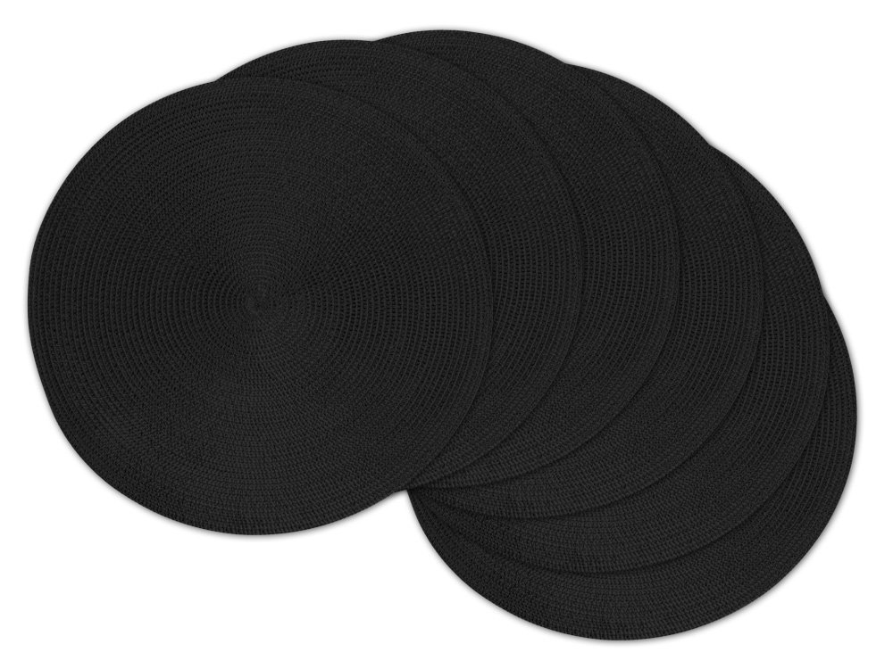 DII Round Woven Placemat, Set of 6, Black - Perfect for Halloween, Dinner Parties, BBQs and Everyday Use