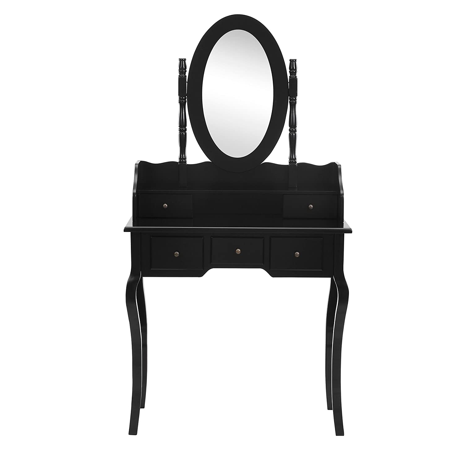 Beautify Bedroom Furniture Dressing Table Vanity Set Premium Black Oval Mirror with 5 Drawers