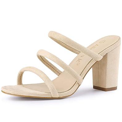 20bc61e1c69d2 Allegra K Women's Open Toe Block Heel Slides Beige Mules Sandals - 6 ...