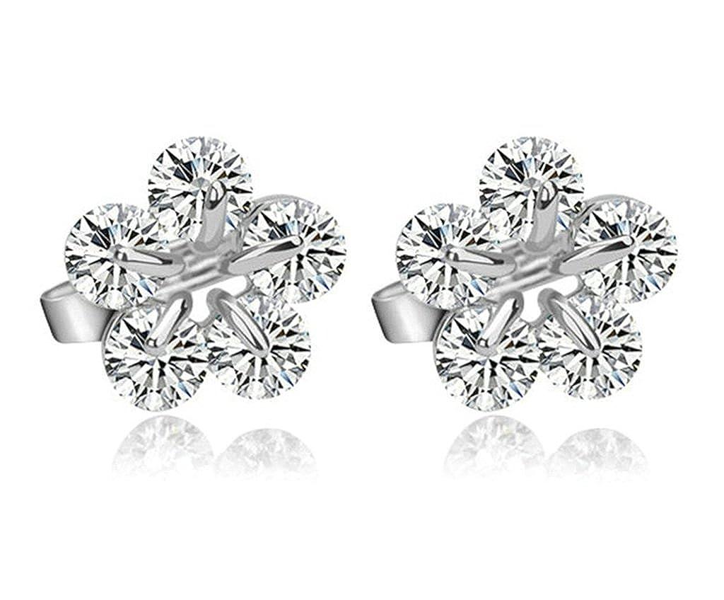 KnSam Women Platinum Plate Pierced Stud Earrings Impatiens Flower Crystal Rhinestone White