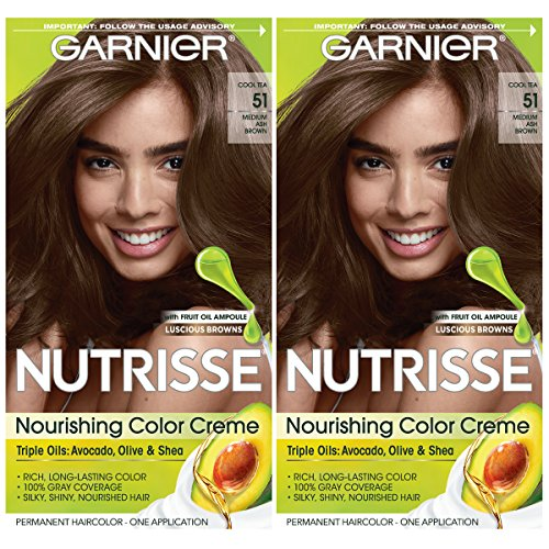 Garnier Hair Color Nutrisse Nourishing Creme, 51 Medium Ash Brown (Cool Tea), 2 Count