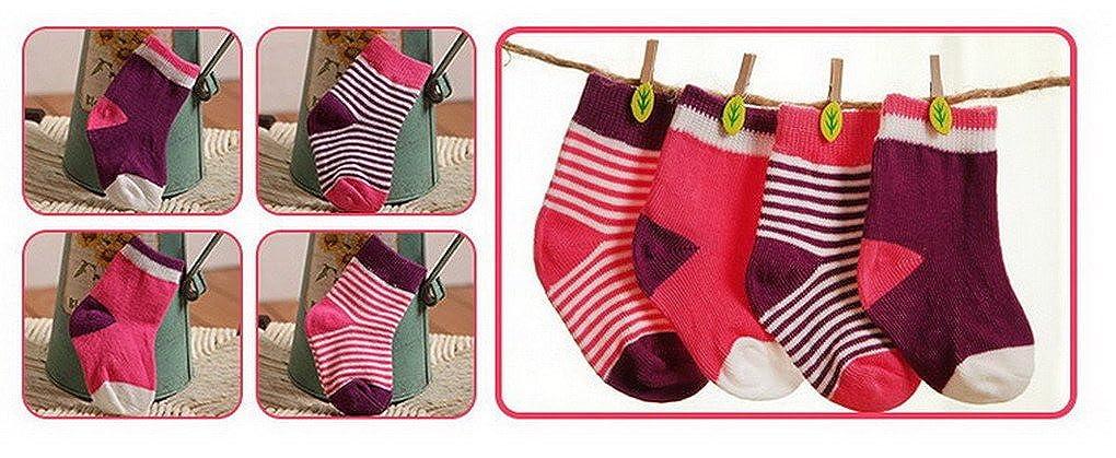 ACMEDE Bambino Calzini Fashion Cotone Color Block Carina Calzini 4 Pairs