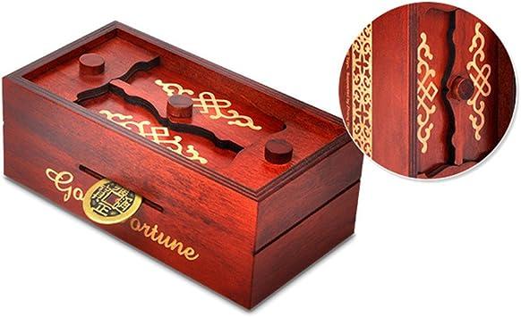 STOBOK Caja Puzzle Nuevo Grande marrón Caja de Joyas talladas Caja mágica Misterio Caja de Madera Rompecabezas Caja Secreta Trinket complicado cajón de Madera Caja escondidapara niños Adultos: Amazon.es: Juguetes y juegos
