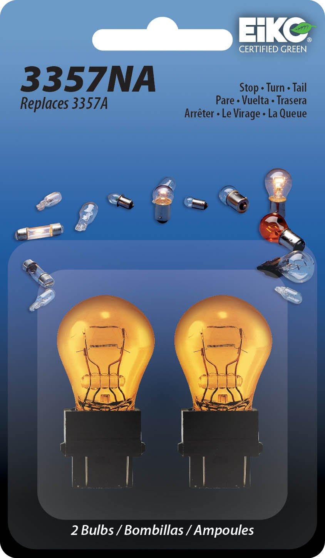 Eiko 3357NA-BP Hi-Temp Amber Miniature Lamp, EIkO Auto Lighting Pack of 2