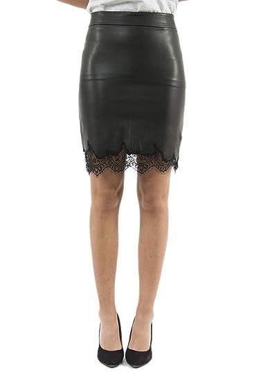 Guess Falda de Piel sintética de Cintura Alta con Encaje Art ...