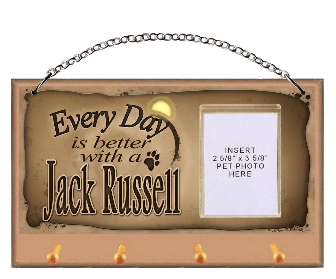 Jack Russell ''Every Day is Better With a Jack Russell'' Key and Leash Holder featuring Clear Pocket to Insert Your Photo