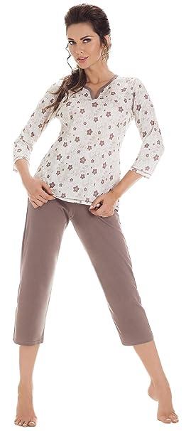 Cornette Pijamas Dos Piezas para Mujer CR-642/02 (Beige, S)