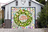 Wreath Christmas Billboard Decorations for Single Car Garage Holiday Banner Door Murals Covers Outdoor Full Color Decor Print of House Garage Door Cover 3D Effect Size 83 x 96 inches DAV206