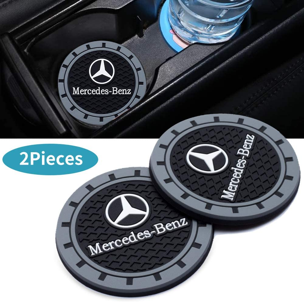 YANGYI 2.75 Inch Car Interior Accessories for Mercedes Benz Cup Holder Insert Coaster Silicone Anti Slip Cup Mat for Benz A-Class C-Class E-Class CLA CLS AMG GLC GLE GLS 2 Pack