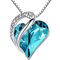 Infinity Love Heart Pendant Necklace Birthstone Crystal Jewelry Gifts for Women, Silver-tone, 18