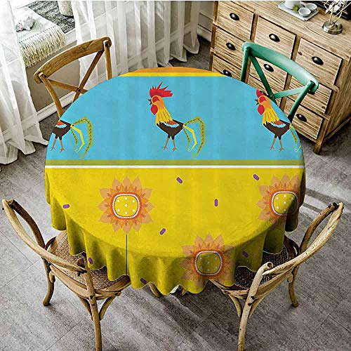 SEMZUXCVO Soft Round Tablecloth Gallos Decor Collection Will not Fade Rooster Pattern with Sunflowers Seasonal Summer Time Greenery Sky Floating Clouds Design D59 Yellow Blue from SEMZUXCVO