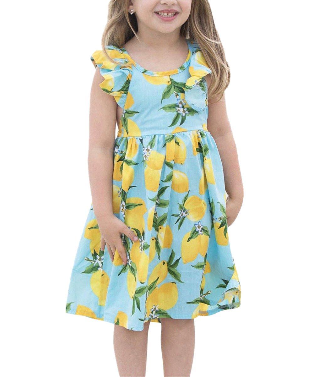 KIDVOVOU Little Girls Ruffle Lemon Floral Dress Summer Casual Toddler Kids Sundress,Blue,6-7years