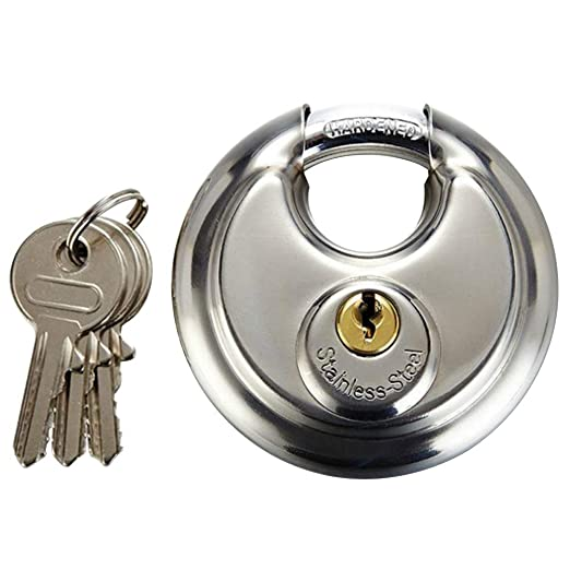 Candado de disco, candado de acero inoxidable con 3 llaves ...