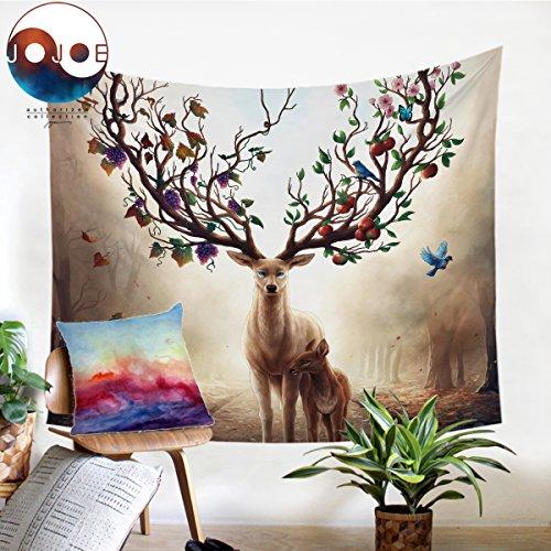 Sleepwish Seasons Change by JoJosArt 3D Animal Tapestry Deer Elk Tapestry Wall Hanging Moose Tapestry Tapestry Wall Hanging Throw (Maple Leaves, L-60×80