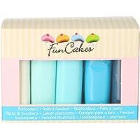 FunCakes Paleta de Colores Azules del Multipack Fondant Suave, Flexible, , Halal, Kosher y sin Gluten. 5 Colores: Blanco…