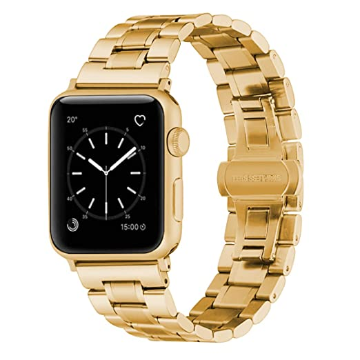 f8f683f8c WISLECT Metal Band Compatible with Apple Watch Band 38mm 42mm Men Luxury  High-end Stainless Steel Adjustable Link Watch Strap Replacement Double  Folding ...