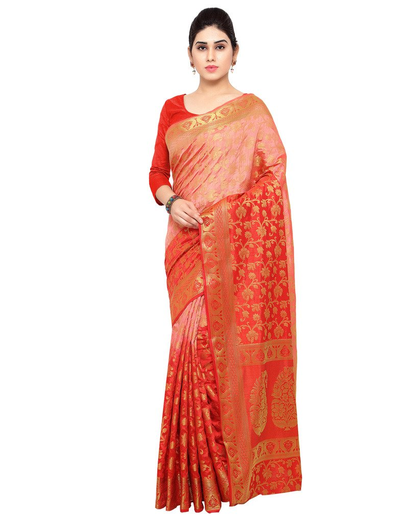 Varkala Silk Sarees Women's Raw Silk Kanchipuram Saree With Blouse Piece_(ND1021TMRD_ Peach & Red)