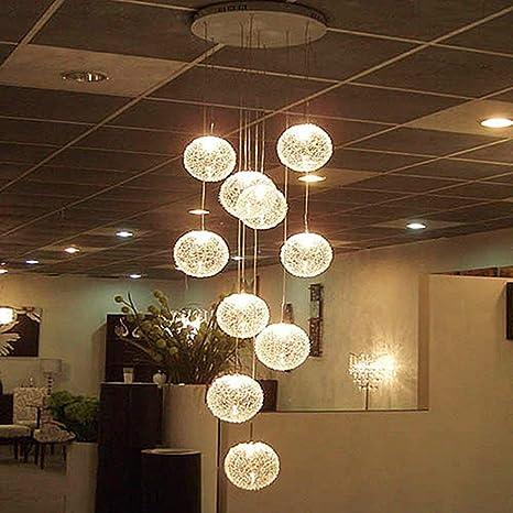 Zichen Lámparas de araña LED grandes modernas Escalera Globo ...