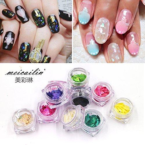 12 Colors/set Nail Glitter Shell Paper Sheet Flake Nail Tips Art DIY Thin Nail Art Decorations Beauty Nails Sticker