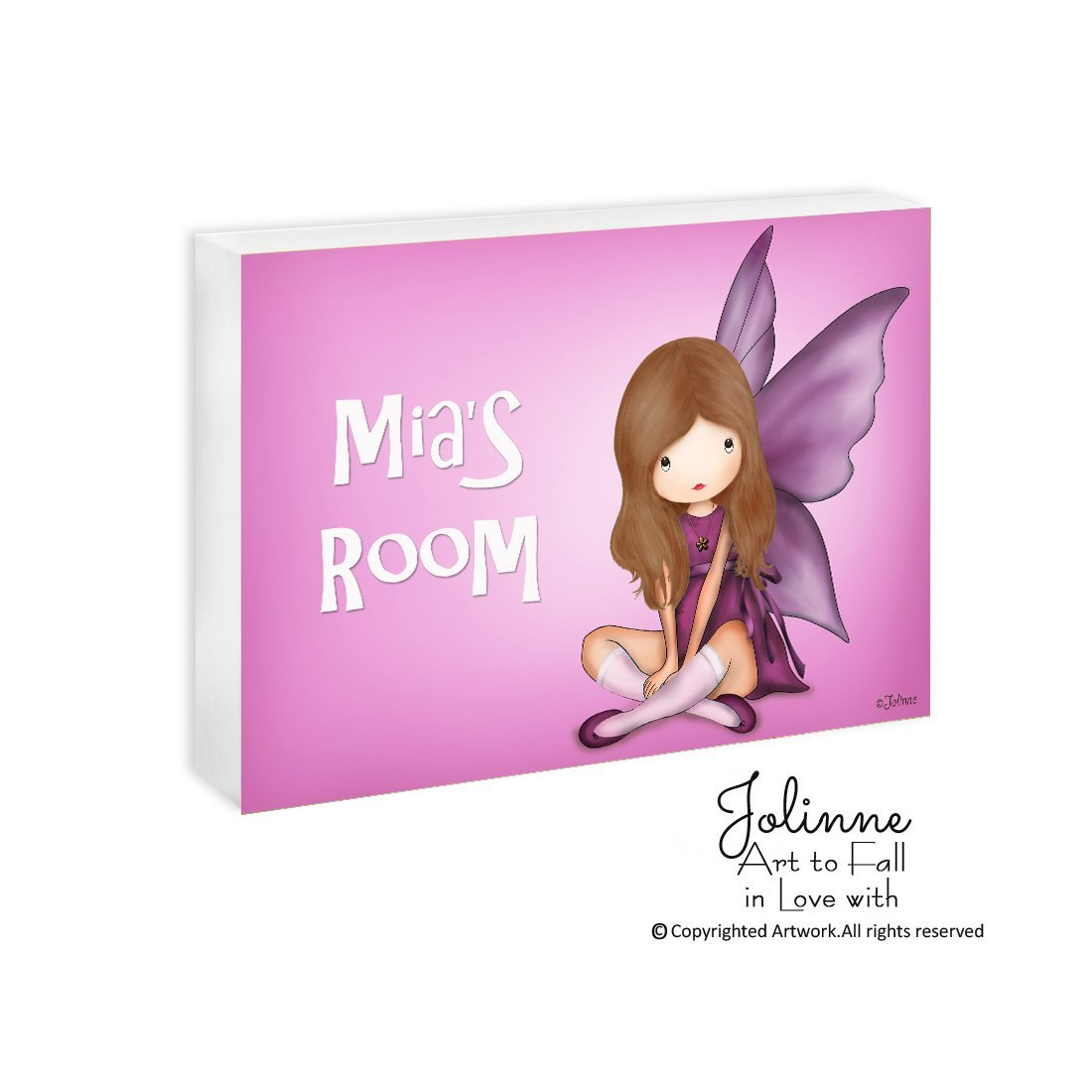 Personalized Christmas Gift for Girls Custom Name Plaque Angel Wall Art Kids Room Customized Hair and Skin Color 5'x7'/8'x10'/11'x14' Ready To Hang