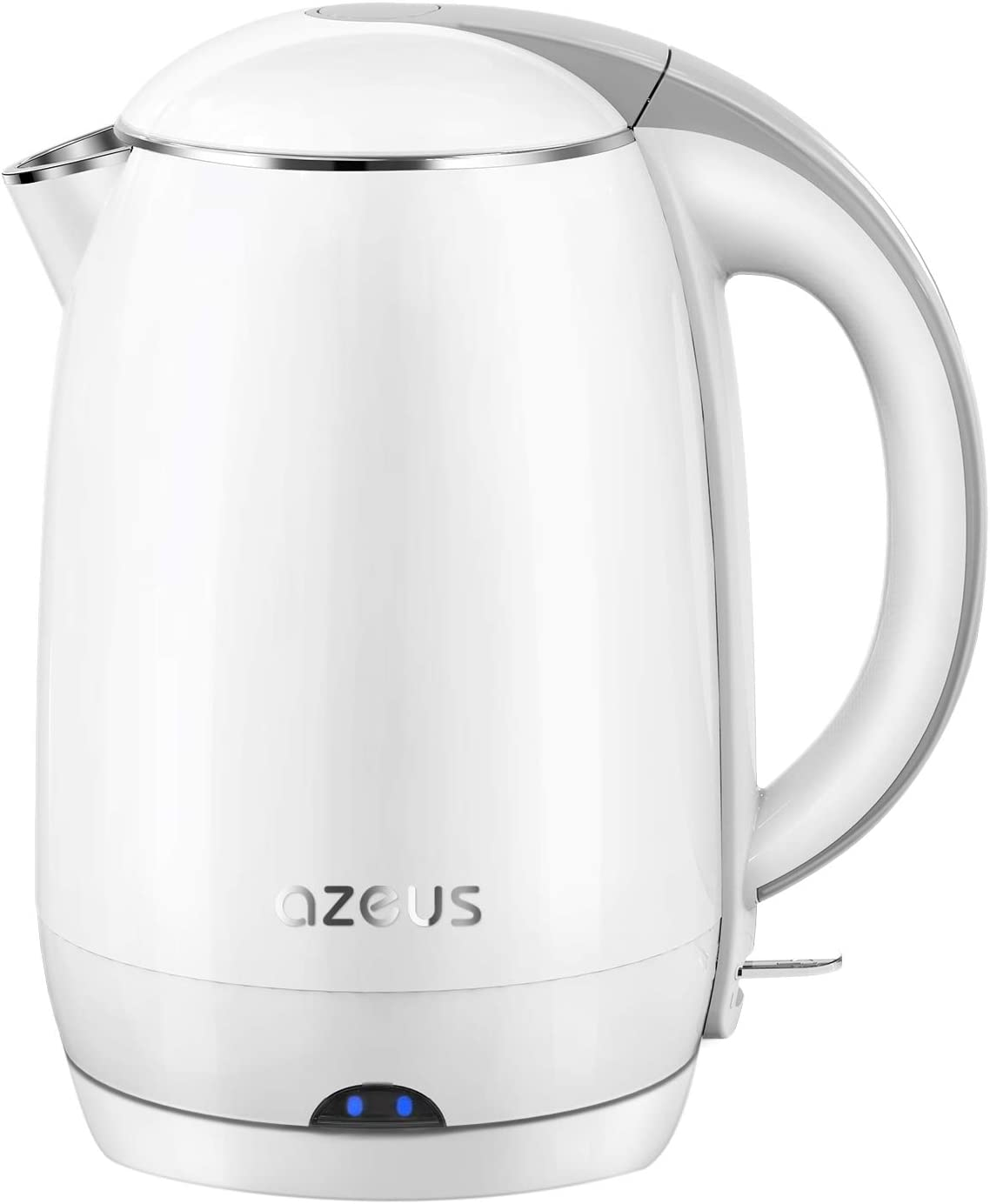 AZEUS Electric Kettle(BPA Free), 1.9 Qt Double Wall Water Kettle with 304 Stainless Steel, 1500W Fast Boiling Cordless Coffee Pot & Tea Kettle, Auto Shut-Off and Boil-Dry Protection, White