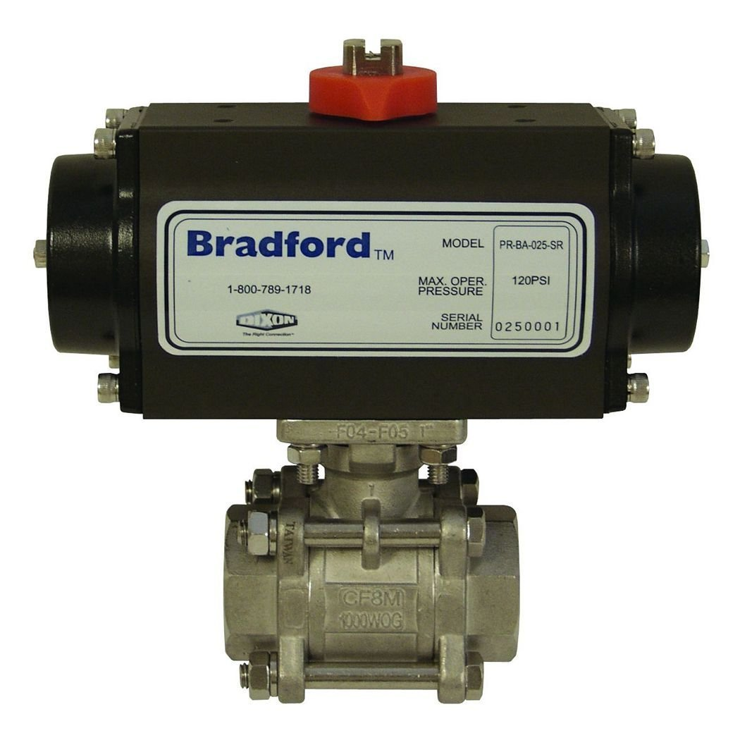 Dixon BV2IG-20011-BCC Stainless Steel 316 Pneumatically Actuated Double Acting Ball Valve, Three Piece, 2'' NPT Female