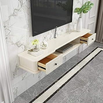 Mueble TV de pared Con cajon dormitorio sala de estar Estante de la pared Estantes flotantes foto juguete Ledge de pantalla Set top box enrutador pequeños artículos electrónicos estante de TV: Amazon.es: