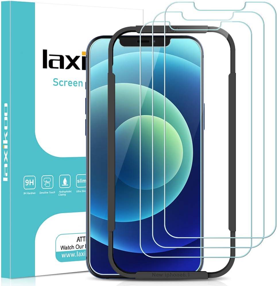 laxikoo Cristal Templado Compatible con iPhone 12/iPhone 12 Pro, [3 Piezas] Protector Pantalla [Marco Instalación Fácil] Dureza 9H Sin Burbujas HD Vidrio Templado Compatible con iPhone 12/12 Pro -6.1